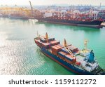 the arrival of the containers... | Shutterstock . vector #1159112272