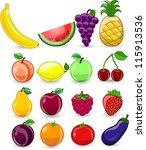 cartoon fruits and vegetables | Shutterstock .eps vector #115913536