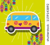 retro van car with stickers and ... | Shutterstock .eps vector #1159143892