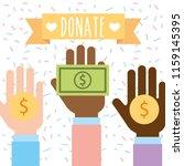 raised hand multiethnic with... | Shutterstock .eps vector #1159145395