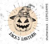 halloween hand drawn pumpkin... | Shutterstock .eps vector #1159154995