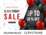 black friday sale banner. 3d... | Shutterstock .eps vector #1159174348