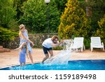 caucasian family having fun and ... | Shutterstock . vector #1159189498