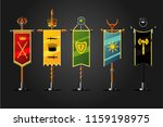 medieval cartoon flag set....