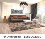 interior of the living room. 3d ... | Shutterstock . vector #1159203382