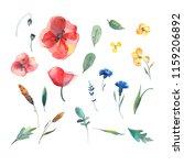 big set of watercolor elements  ... | Shutterstock . vector #1159206892