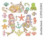 cute mermaid element collection | Shutterstock .eps vector #1159213342