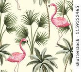 Tropical Vintage Pink Flamingo...