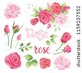 hand drawn set of roses  rose... | Shutterstock .eps vector #1159237552