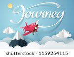 paper art of red air plane and... | Shutterstock .eps vector #1159254115