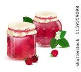 raspberry jam. blackberry jam.... | Shutterstock .eps vector #1159259098