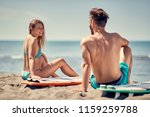 water sports. attractive couple ... | Shutterstock . vector #1159259788