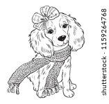 Dog In Scarf  Illustration Of...