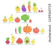 set of cute cartoon fruits and...   Shutterstock .eps vector #1159265725
