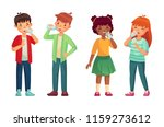 kids drink glass of water.... | Shutterstock .eps vector #1159273612