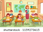 pupils and teacher in classroom.... | Shutterstock .eps vector #1159273615