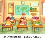 pupil kids at classroom.... | Shutterstock .eps vector #1159273618