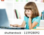 cute little girl smiling and... | Shutterstock . vector #115928092