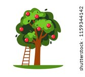 vector apple tree and ladder... | Shutterstock .eps vector #1159344142
