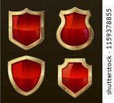 gold shield shape icons set. 3d ... | Shutterstock .eps vector #1159378855
