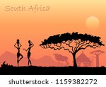african sunset landscape with... | Shutterstock .eps vector #1159382272