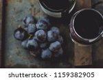 top view of red wine bottle.... | Shutterstock . vector #1159382905