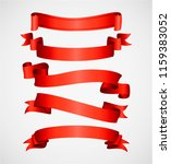 red shiny curved ribbons... | Shutterstock .eps vector #1159383052
