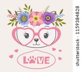 cute cat face with floral...   Shutterstock .eps vector #1159384828