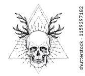 human skull over sacred... | Shutterstock .eps vector #1159397182