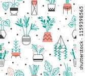 homeplants in bright flowerpots.... | Shutterstock .eps vector #1159398565