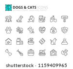 Stock vector outline icons about dogs and cats pets editable stroke x pixel perfect 1159409965