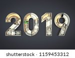 new year 2019 made from... | Shutterstock . vector #1159453312