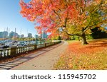Stock photo colors of the autumn gorgeous sea walk in the park stanley park in vancouver canada 115945702