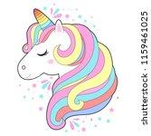 white unicorn head vector... | Shutterstock .eps vector #1159461025