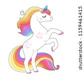 white unicorn  with rainbow... | Shutterstock .eps vector #1159461415