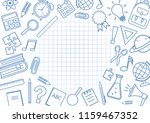 frame with school supplies on... | Shutterstock .eps vector #1159467352