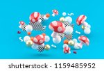 red mushroom among colorful... | Shutterstock . vector #1159485952