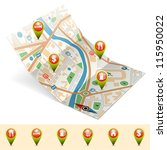 map with set pointers  gps... | Shutterstock .eps vector #115950022