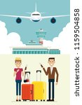 plane at airport arrivals and... | Shutterstock .eps vector #1159504858