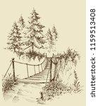 suspension bridge in the forest ... | Shutterstock .eps vector #1159513408
