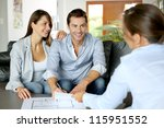 couple signing financial terms... | Shutterstock . vector #115951552