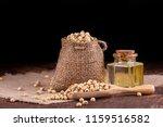soybean oil on a wooden...   Shutterstock . vector #1159516582