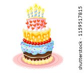 sweet birthday cake with candle ... | Shutterstock .eps vector #1159517815