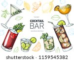 alcoholic cocktails hand drawn... | Shutterstock .eps vector #1159545382