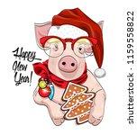 vector pig   santa claus in a... | Shutterstock .eps vector #1159558822