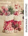 Christmas Retro Boots On White...