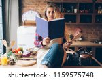 young housewife in an apron... | Shutterstock . vector #1159575748