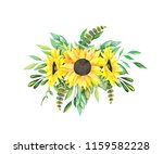 bouquet of sunflowers and green ... | Shutterstock . vector #1159582228