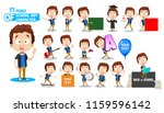 little boy in blue shirt... | Shutterstock .eps vector #1159596142