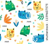 seamless pattern with funny... | Shutterstock .eps vector #1159607575